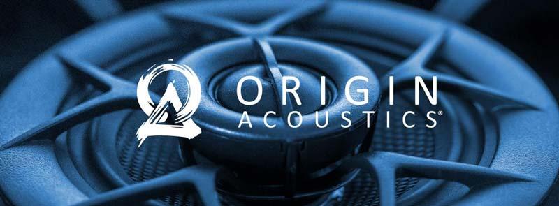 Origin Acoustics logo and speaker banner
